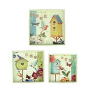"""Northlight Set of 3 Birdhouse Garden Theme Square Wooden Serving Trays 16"""" - Green/Blue"""
