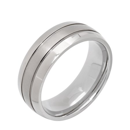 Men's Titanium Grooved Dome Wedding Band - Mens -