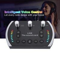 YLSHRF Intelligent Voice Control Colorful Light Voice Changer Live Sound Card Microphone, Voice Changer Microphone,Sound Card