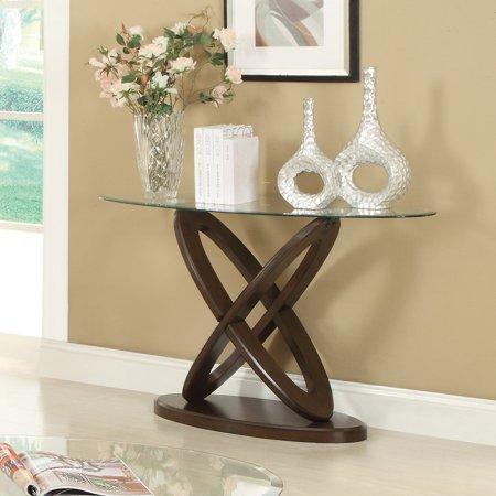 Coaster Furniture Glass Top Espresso Finish Sofa (Glass Top Sofa Table)