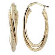 Fremada  10k Yellow Gold High Polish and Diamond-cut Overlapping Hoop Earrings