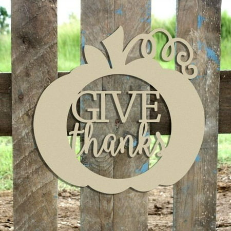 """12"""" Give Thanks Framed Curly Stem Pumpkin Wooden (MDF) Cutout"""