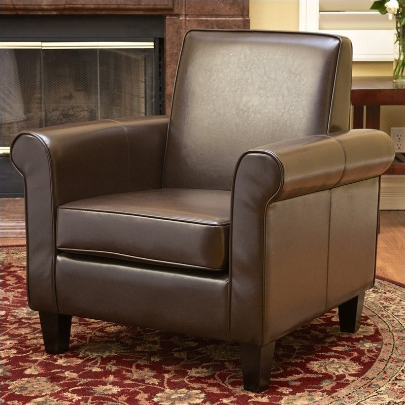 Trent Home William Leather Club Chair in Brown by Noble House