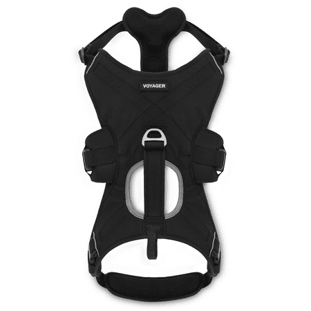 Voyager by Best Pet Supplies - Control Dog Walking harness with Handle, (Black,