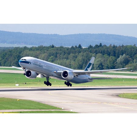 Zurich Airport (LAMINATED POSTER Airport Zurich Jet Cathay Pacific Boeing 777 Poster Print 24 x)