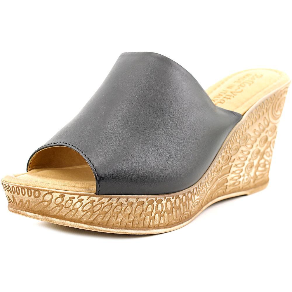 Bella Vita Mileto Women Open Toe Synthetic Black Wedge Sandal by Bella Vita