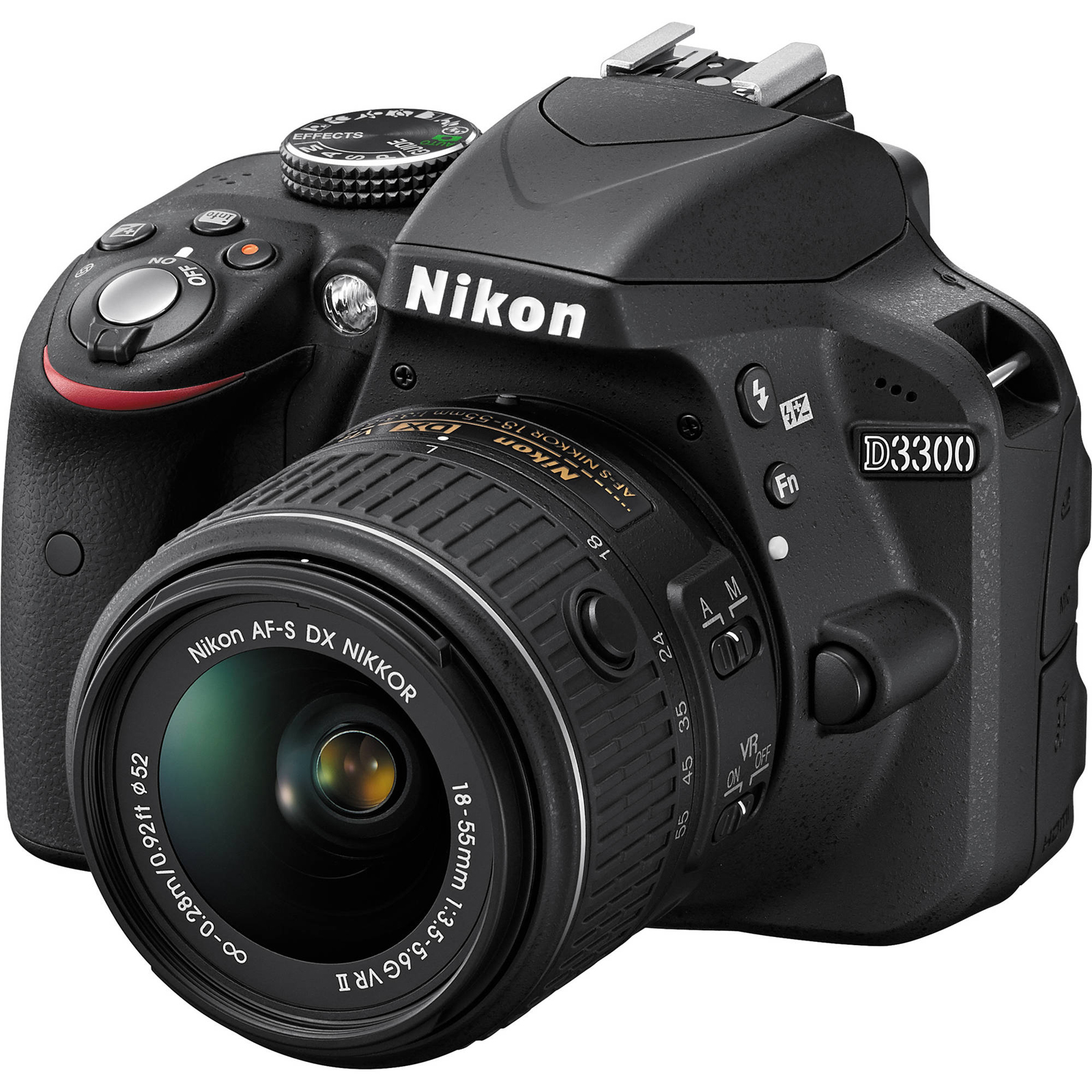 Nikon D3300 Digital SLR Camera & 18-55mm VR DX II AF-S Lens (Black) - Factory Refurbished includes Full 1 Year Warranty
