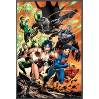 "Justice League Of America - Framed DC Comics Poster / Print (Attack - Superman, Wonder Woman, Batman, The Flash, Green Lantern, Aquaman...) (Size: 24"" x 36"")"