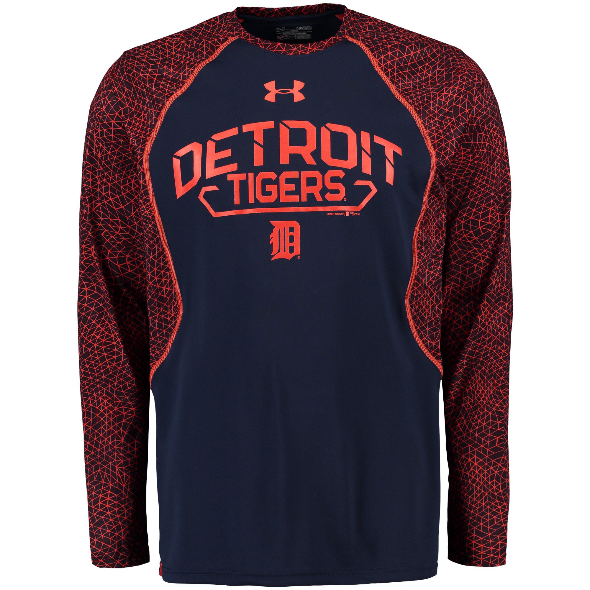 Detroit Tigers Under Armour Apex Print Performance Long Sleeve T-Shirt - Navy