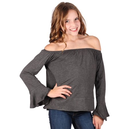 Lori & Jane Girls Charcoal Long Sleeves Off Shoulder Elastic Top