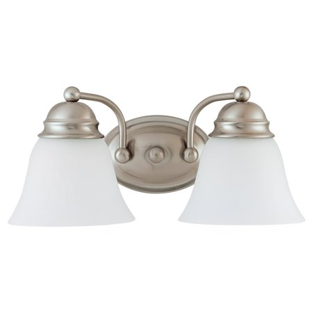 2 Light - 15 in. Vanity - Alabaster Glass Bell Shades