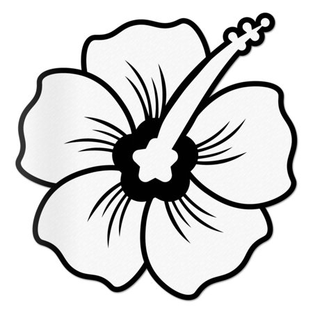Hibiscus Decal White Sticker Vinyl Rear Window Car Truck Large Flower Wall Water and Fade Resistant 6 -