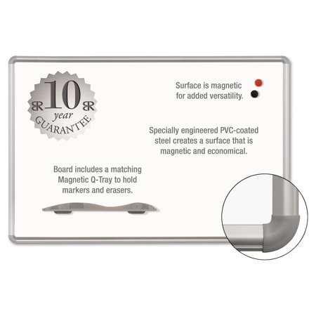 Best-Rite Magne-Rite Magnetic Dry Erase Board, 72 x 48, White, Silver