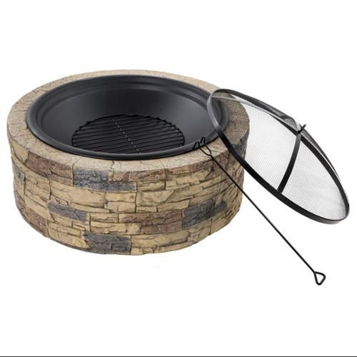 35 in. Cast Stone Fire Pit in Brown