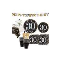 Sparkling Celebration 30th Birthday Party Kit for 16 Guests, 136 Pieces
