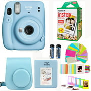 Fujifilm Instax Mini 11 Sky Blue Camera with Fuji Instant Film Twin Pack (20 Pictures) + Blue Case with Strap, Album, Stickers, and More Accessories Bundle