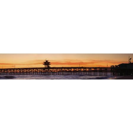 Orange County Pier (San Clemente Municipal Pier In Sunset Panorama San Clemente City Orange County Southern California Usa Canvas Art - Richard Cummins  Design Pics (44 x 9) )