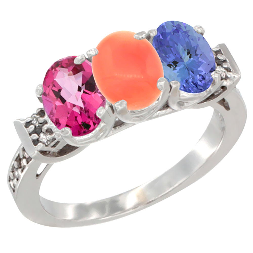 10K White Gold Natural Pink Topaz, Coral & Tanzanite Ring 3-Stone Oval 7x5 mm Diamond Accent, sizes 5 10 by WorldJewels