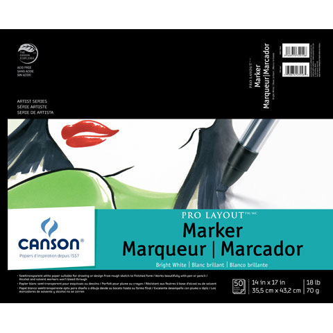 Canson Pro Layout Marker Paper: 14 x 17 inches, 50 sheets
