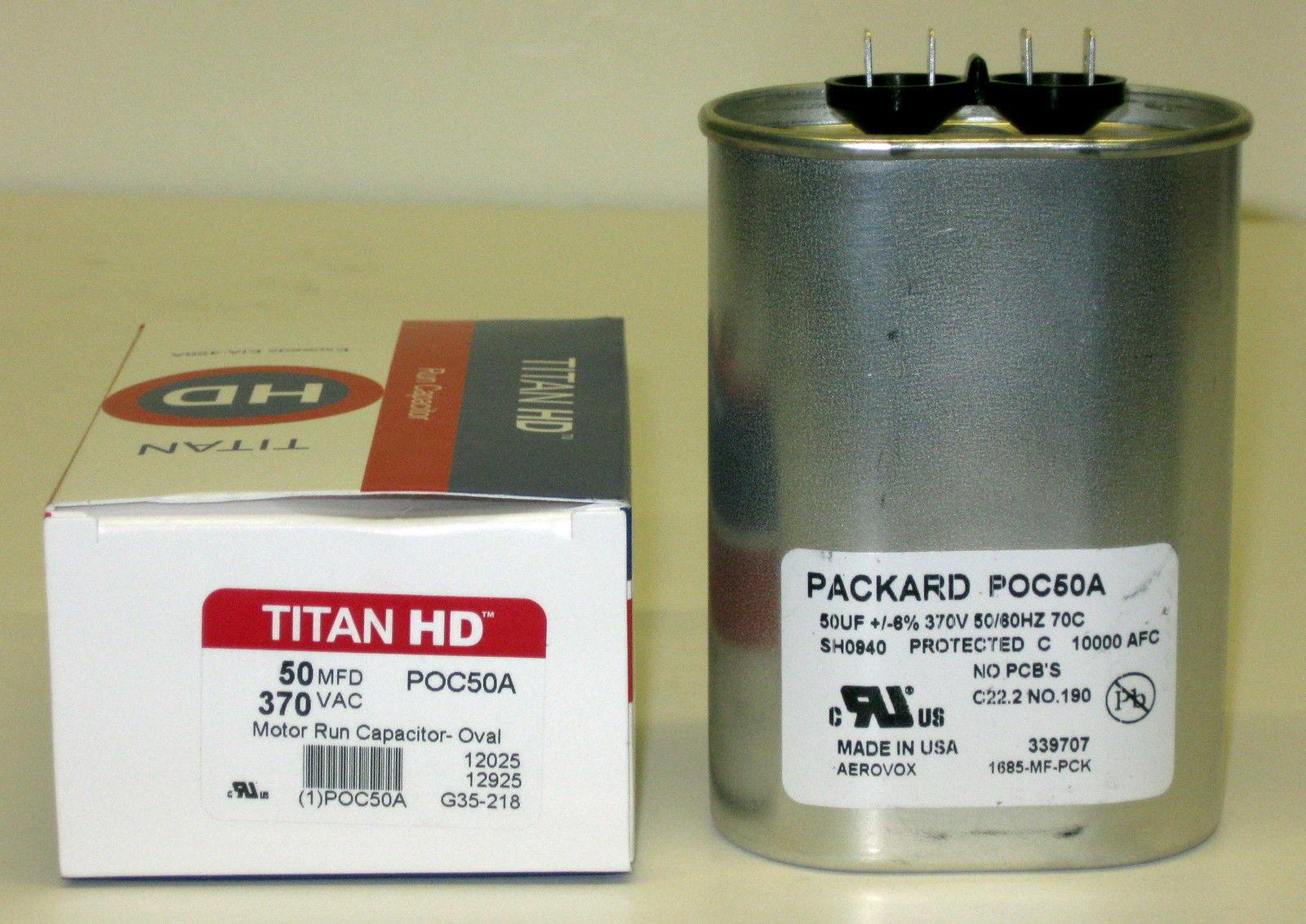 Aerovox Replacement Titan Hd Run Capacitor 50 Mfd 370V Oval 1685-MF-PCK By Titan