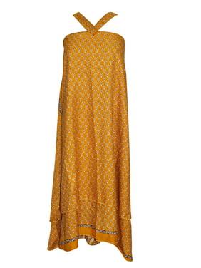 d14a7c93fbbe Product Image Mogul Magic Wrap Skirts Floral Print Premium Silk Sari Yellow  Reversible Beach Dress