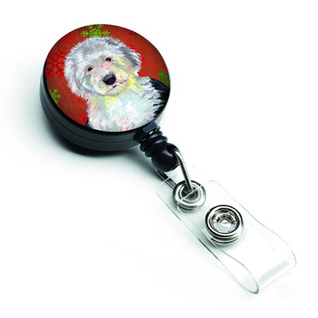 Old English Sheepdog Red & Green Snowflakes Holiday Christmas Retractable Badge Reel - image 1 de 1