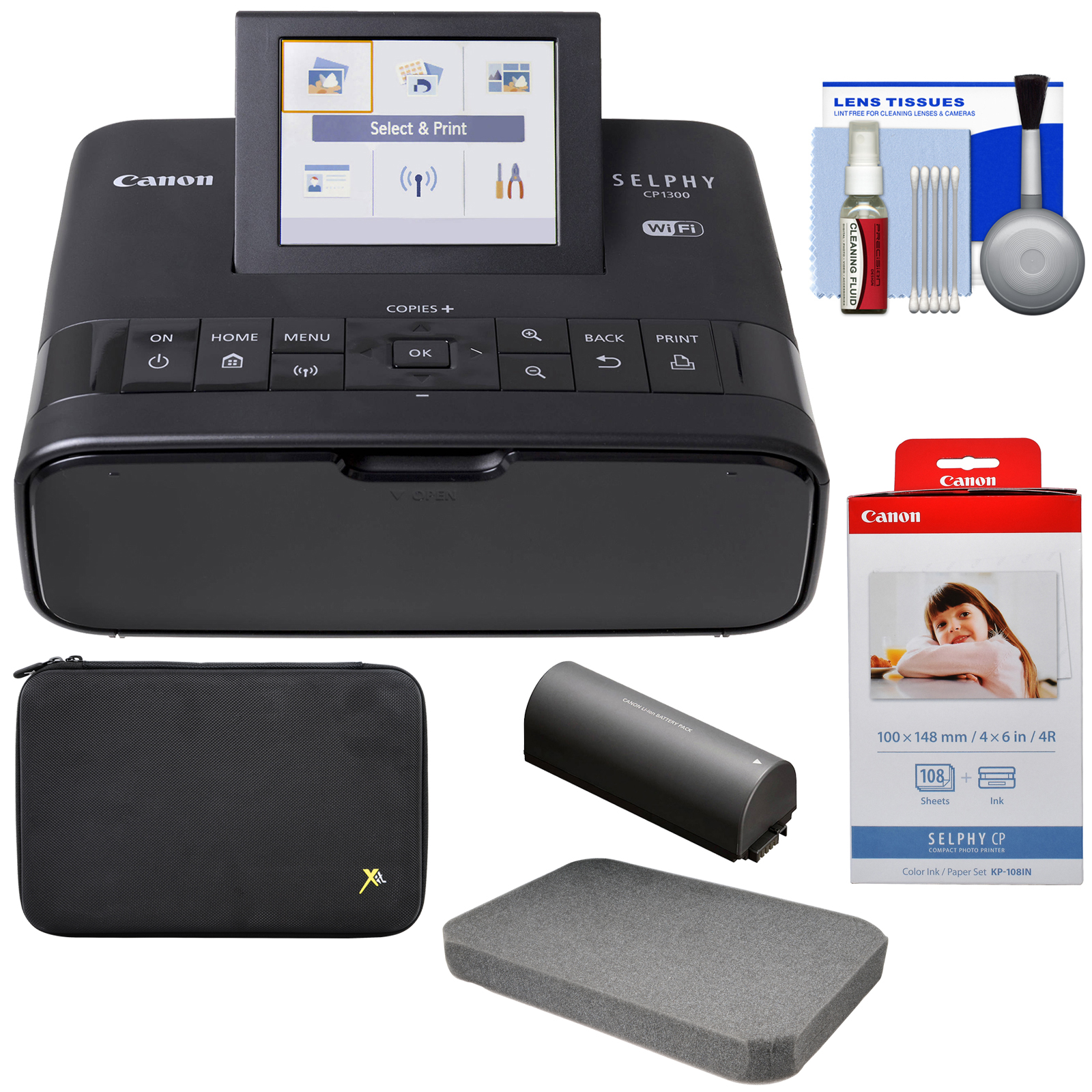 Canon SELPHY CP1300 Wi-Fi Wireless Compact Photo Printer with NB-CP2LH Battery Pack + KP-108IN Color Ink Paper Set + Custom Case Kit