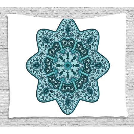 Mandala Decor Tapestry, Eastern Chinese Lace Mandala with Inner Eye Fish and Paisley Figures Artwork, Wall Hanging for Bedroom Living Room Dorm Decor, 80W X 60L Inches, Teal, by Ambesonne