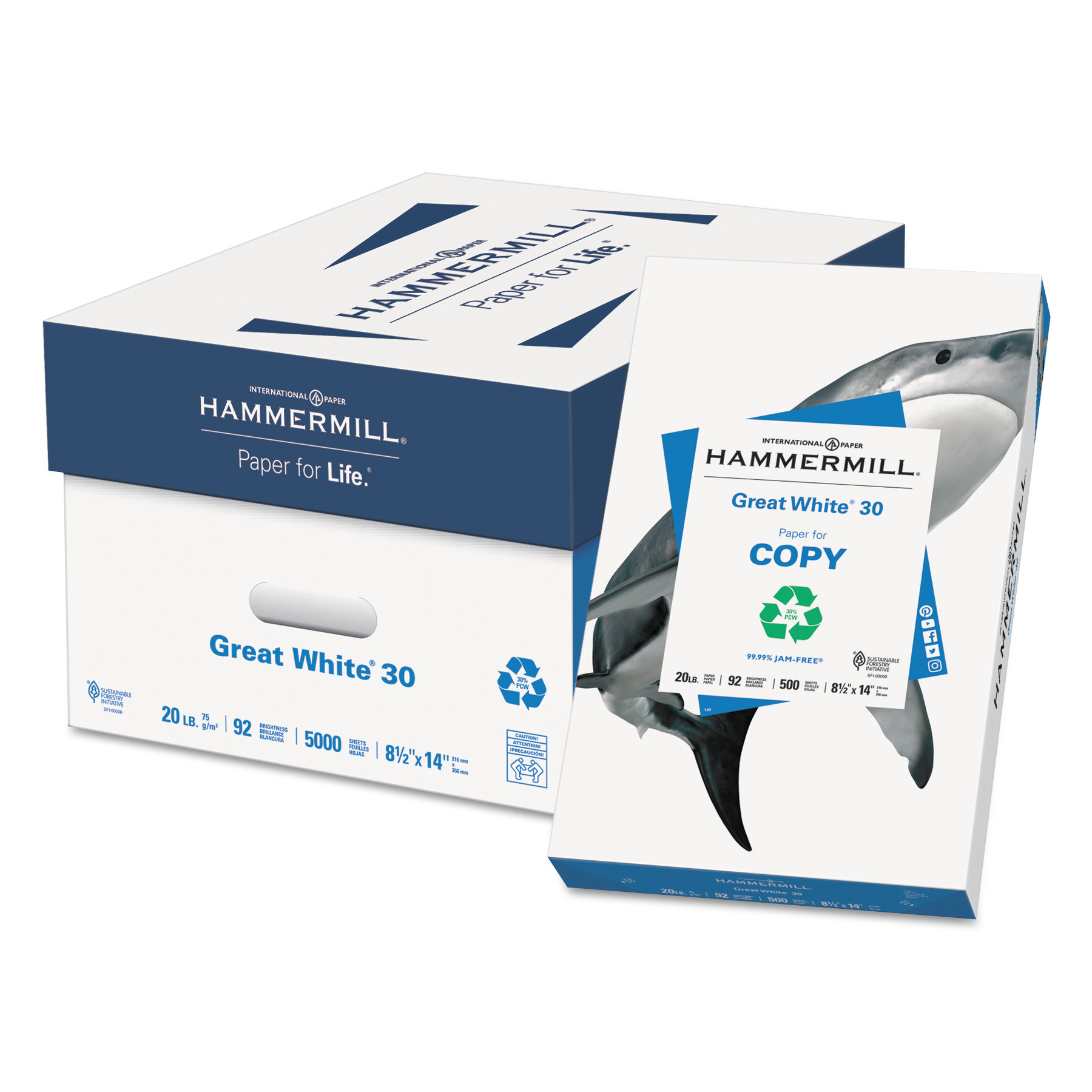 Hammermill Great White 30 Recycled Paper, 92 Bright, 20lb, 8-1/2 x 14, 500 Sheets/Ream -HAM86704