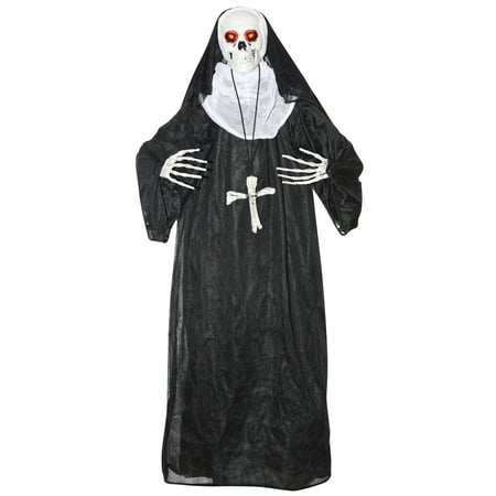 Animated Nun Prop Halloween Decoration - Black Cat Blow Up Halloween Decoration