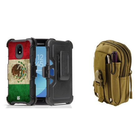 Rugged Case Holster Combo for Samsung Galaxy J3 Orbit (Vintage Mexico) with Khaki Tactical Utility Pack and Atom Cloth for Samsung Galaxy J3 (Khaki Combo)