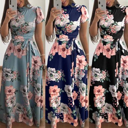 Womens Retro Long Sleeve Cowl Neck Printed Casual Party Beach Dress With Belt](Sequin Cowl Neck Dress)