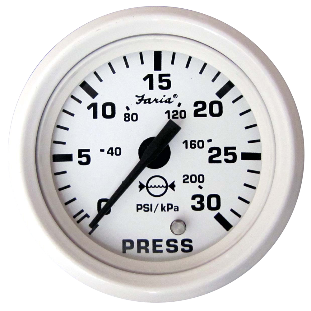 "New Dress White Series faria Instruments 13108 2/"" Water Pressure Gauge Kit 30 PS"