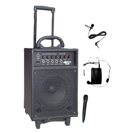 300 Watt Dual Channel Wireless Rechageable Portable PA System With Handheld  Mic and Lavalier Headset Mic - Walmart.com 23b002c58e35c