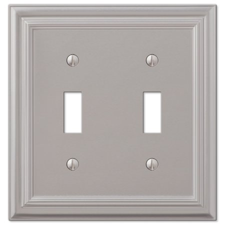 Amerelle 94TTN Continental Cast Metal Wallplate with 2 Toggle, Satin Nickel