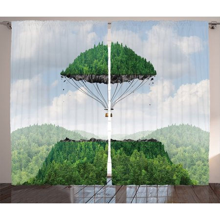 Fantasy House Decor Curtains 2 Panels Set, Detached Top Of A Mountain Floating Up To The Sky As A Hot Air Balloon Creative Art, Living Room Bedroom Accessories, By Ambesonne