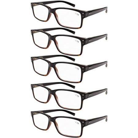 95f10828eb0b 5-pack Spring Hinges Vintage Reading Glasses Men Readers Black-Yellow  Tortoise +1.0 - Walmart.com