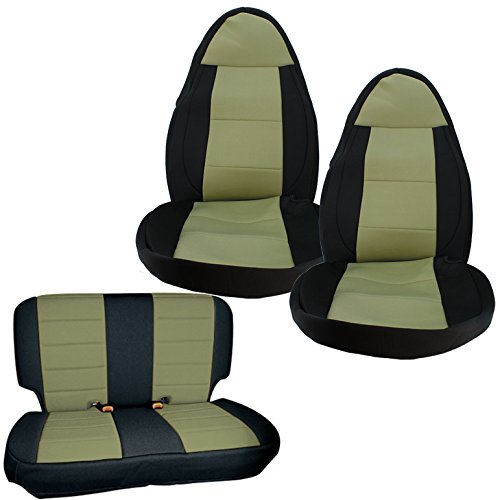 Smittybilt Neoprene Front and Rear Seat Covers with Black Sides / Tan Center 471325