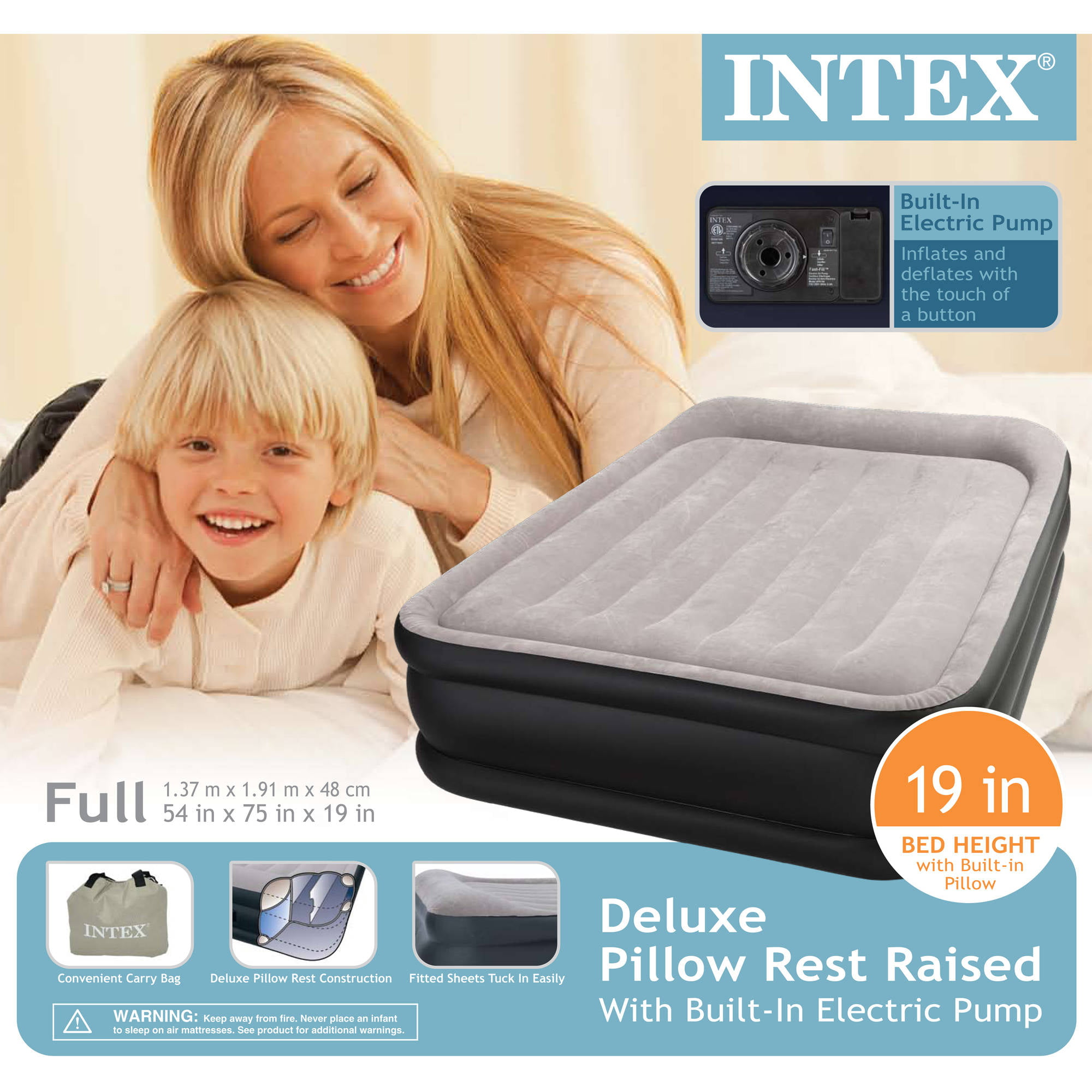 air mattress with pillow Intex Deluxe Raised Pillow Rest Airbed Mattress with Built In Pump  air mattress with pillow