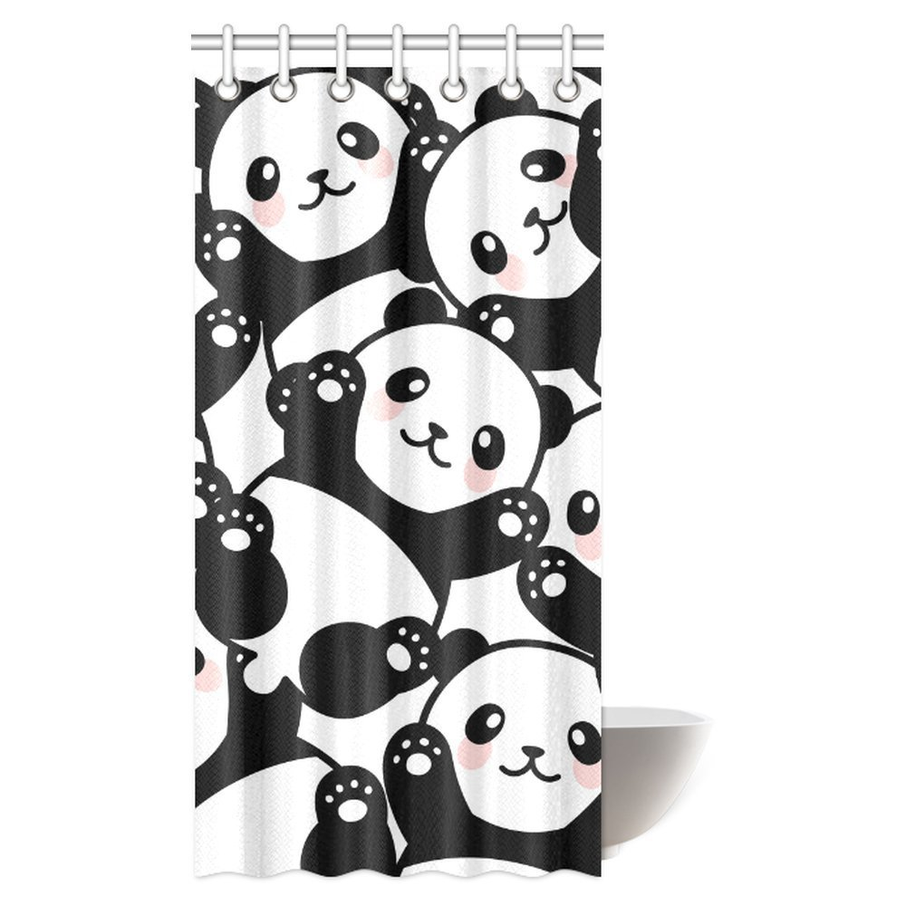 GCKG Animal Decor Shower Curtain Baby Panda Bears Cartoon Polyester Fabric Bathroom Set With Hooks 36x72 Inches