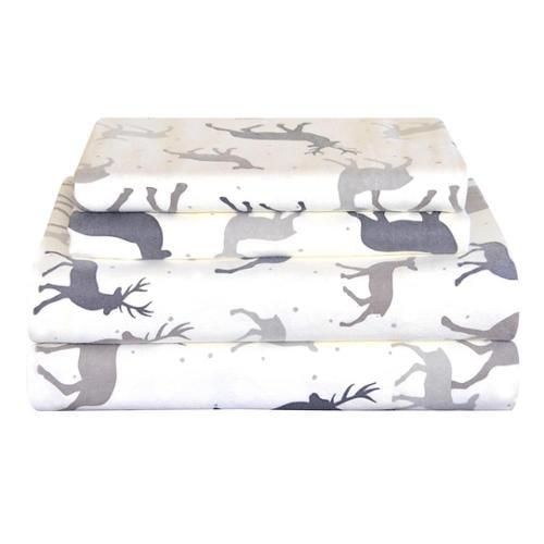 Pointehaven Heavy Weight Deep Pocket Flannel Sheet Set - Autumn Deer Twin - Autumn Deer