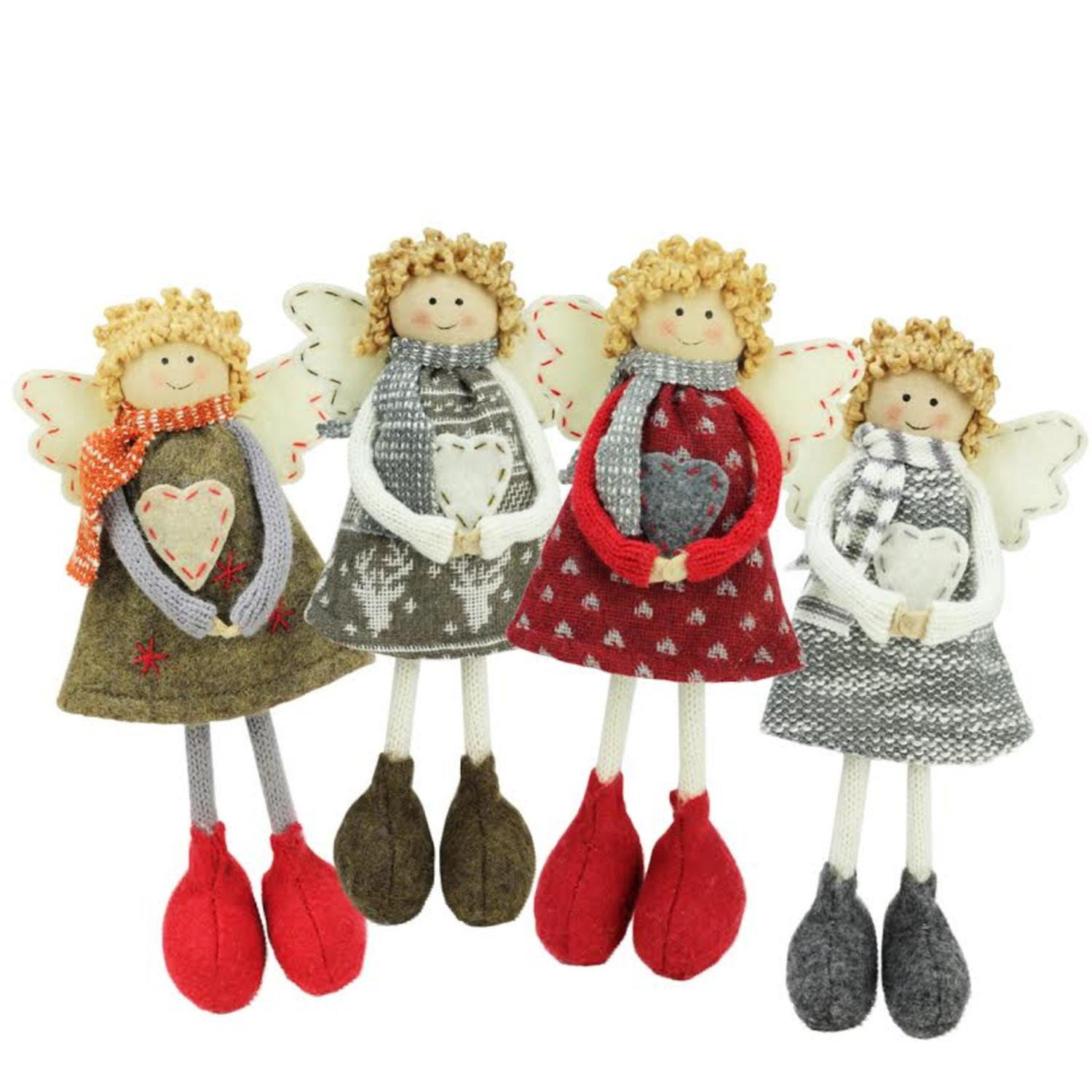 Set of 4 Colorful Holiday Angel Sisters Standing Christmas Decorations 9""