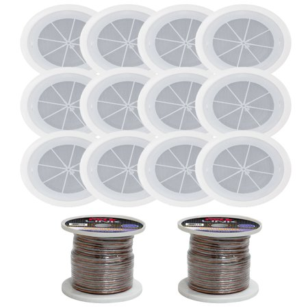 - Pyle PDICS6 6.5 Inch Full Range In-Ceiling Flush Mount Enclosure Speakers with 16 Gauge 100 ft. Spool of Speaker Zip Wire