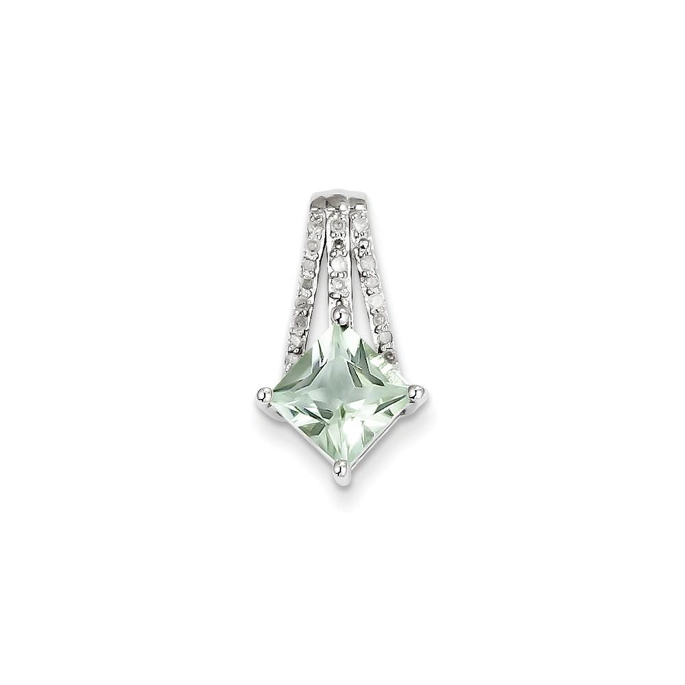Sterling Silver Diamond & Green Quartz Pendant Carat Wt- 0.11ct. Gem Wt- 1.26ct
