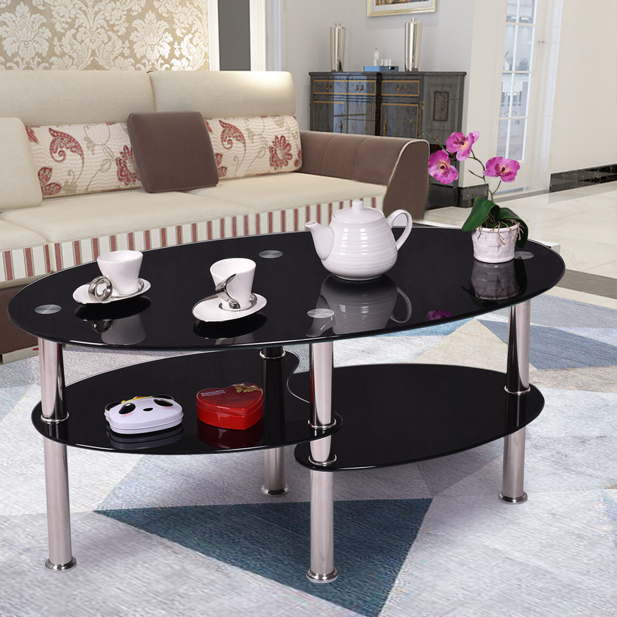 glass tables for living room costway tempered glass oval side coffee table shelf chrome 18343