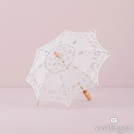 Weddingstar 9533-08 White Battenburg Lace Parasol - Small - Parasol White