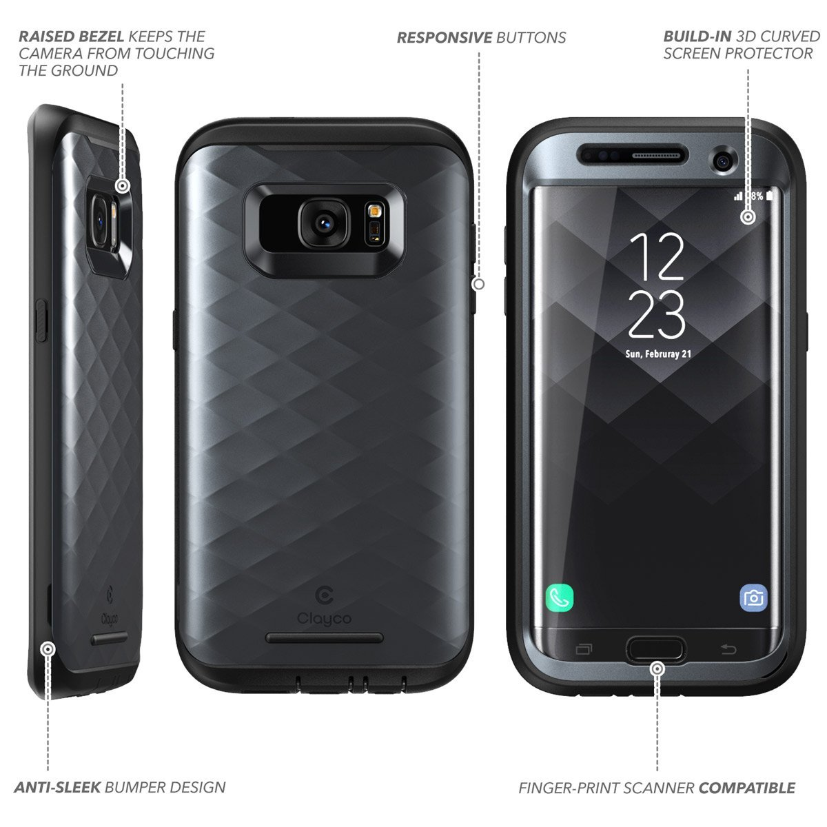 huge discount fd1f2 685d8 Galaxy S7 Edge Case, [Hera Series] Full-body Rugged Case with Built-in  Screen Protector for Samsung Galaxy S7 Edge (2016 Release) (Black)