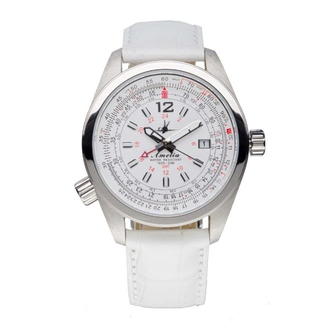 Image of Abingdon 0610696150639 Aviatrix Collection Amelia - Cloud White Leather Stainless Steel Women Watch