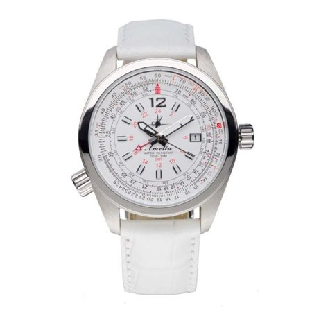 Abingdon 0610696150639 Aviatrix Collection Amelia - Cloud White Leather Stainless Steel Women Watch