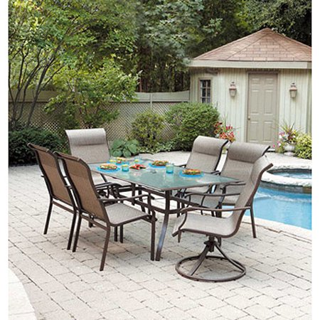 mainstays york 7 piece patio dining set seats 6